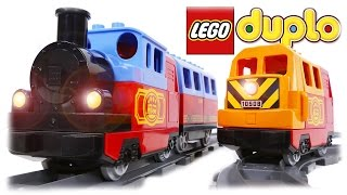 getlinkyoutube.com-LEGO Duplo Train, 10507 + 10508 Trains COMPILATION Video for Children and Kids