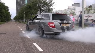 getlinkyoutube.com-770HP Supercharged Mercedes Weistec C63 AMG Estate - BURNOUT!
