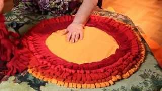 Пушистый коврик своими руками из старых шарфов (флис )- 1 часть