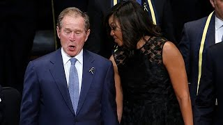 George W. Bush Dances At Dallas Police Memorial Service / Wait and See for King Trump's dancing