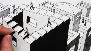 getlinkyoutube.com-How to Draw an Optical Illusion: Draw the Penrose Staircase