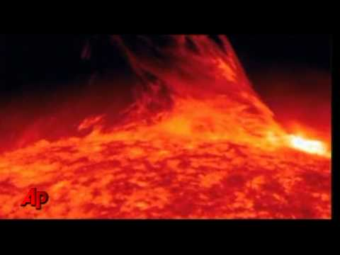 Raw Video: Large Solar Flare Erupts