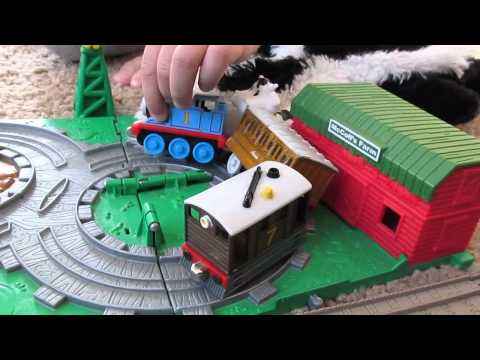 Kid Plays With Thomas The Tank Engine Toys Skunk Whoopi Cush