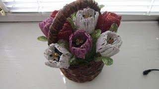 getlinkyoutube.com-Тюльпаны из бисера. Мастер класс.
