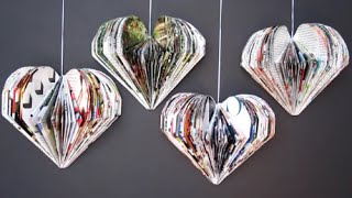 getlinkyoutube.com-DIY Valentine's Day Room Decor Ideas | Recycle Magazine 3D Hearts | Recycled Crafts Ideas For Kids
