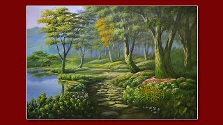 getlinkyoutube.com-Forest Garden - acrylic landscape painting in time-lapse demo by JM Lisondra