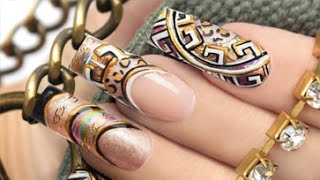 getlinkyoutube.com-Platinum 3D Gold Nail Art . Nails 21