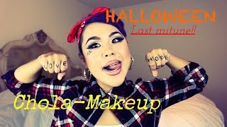 getlinkyoutube.com-ハロウィンチカーノギャングガールメイク HALLOWEEN I Last minute makeup I CHOLA GANGSTA MAKEUP
