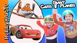 getlinkyoutube.com-Worlds Biggest CARS + PLANES Surprise Egg! Disney, Boat Race HobbyPig HobbyFrog HobbyKidsTV