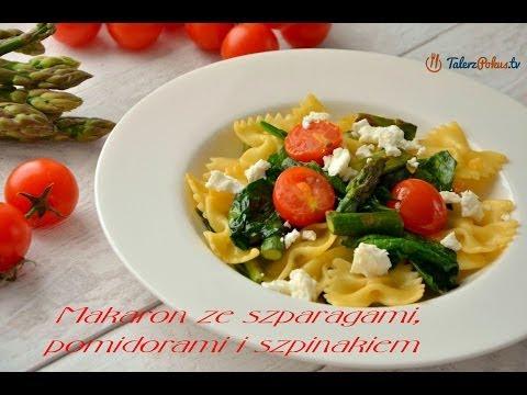 Makaron ze szparagami, pomidorami i szpinakiem
