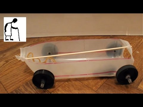 Rubber Band Powered Car Using Printer Rollers as Wheels