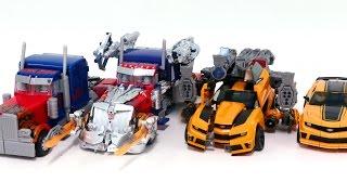 getlinkyoutube.com-Transformers Movie 3 Dotm Leader Bumblebee Optimus Prime Same 4 Vehicles Truck Robot Car Toys