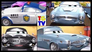 getlinkyoutube.com-Disney Pixar Cars Finn McMissile 4 Screen Race & Paint Jobs | Cars Fast as Lightning