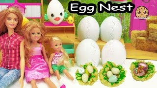 Cooking Fun - Chocolate Shopkins Eggs In Rice Krispy Marshmallow Treat Bird Nest with Barbie