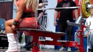 getlinkyoutube.com-Minna Pajulahti and 110kg raw bench press 2014 in NFE