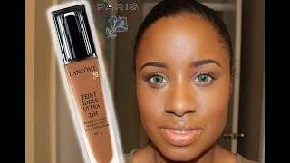 Lancome teint idole 24hr foundation in Shade 500 suede (w); Review/Swatch/Photos