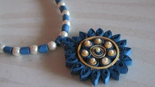 getlinkyoutube.com-DIY - Quilled Paper Necklace, Easy paper quilling jewellery tutorial