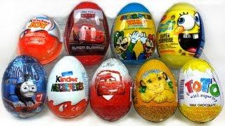 getlinkyoutube.com-9 Surprise Eggs Unboxing, Kinder Zaini Cars 2 Spongebob Thomas...