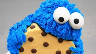 getlinkyoutube.com-COOKIE MONSTER CAKE - Buttercream Decorating *How To Make by CakesStepbyStep