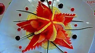getlinkyoutube.com-Цветок из помидора! Морская звезда! Карвинг помидора! Starfish! Carving tomato.
