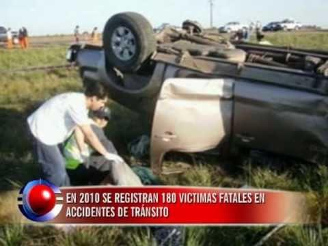 Accidentes de tránsito: en 2010 se registran 180 víctimas fatales