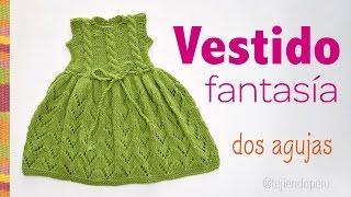 getlinkyoutube.com-Vestido fantasía con trenzas tejido en dos agujas para niñas
