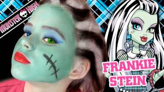 getlinkyoutube.com-Frankie Stein Monster High Doll Costume Makeup Tutorial for Halloween
