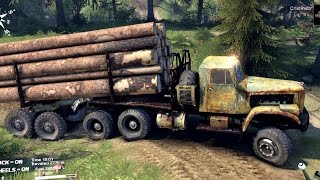 getlinkyoutube.com-SPINTIRES 2014 - The River Map - Old Kraz Transporting Logs Until it Rolls Over