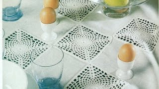 getlinkyoutube.com-Patrón Para Tejer Mantel con Cuadros a Crochet
