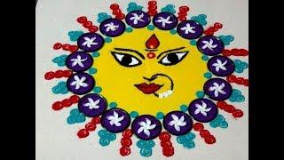 Navratri Special Rangoli - Navratri Kolam - Durgadevi Face - By Rangolidesigns