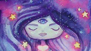 Starry Skies Gleaming Eyes - Watercolor Speed Art