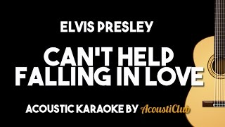 Elvis Presley - Can't Help Falling in Love (Acoustic Guitar Karaoke Lyrics on Screen)