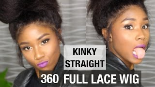 NATURAL HAIR PROTECTIVE STYLE 360 LACE  WIG | KINKY STRAIGHT | WWW.MYFIRSTWIG.COM