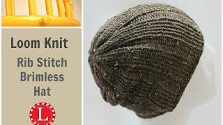 getlinkyoutube.com-Loom Knitting Hat Rib Stitch Slight Slouch Brimless Beanie for Men and Women.