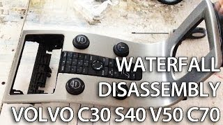 How to disassemble waterfall center console Volvo C30 S40 V50 C70 (dashboard tuning radio removal)