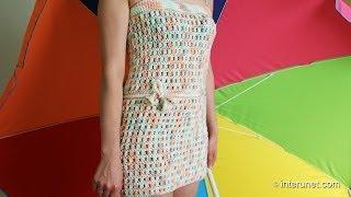 getlinkyoutube.com-How to crochet tube beach cover-up dress using nuts pattern
