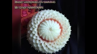 getlinkyoutube.com-How to carving basic design in watermelon  for beginner(A1) by chef NAMTARN