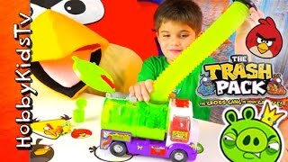getlinkyoutube.com-Trash Pack Sewer Truck Box Open! Surprises Angry Birds, Bad Piggie HobbyKidsTV
