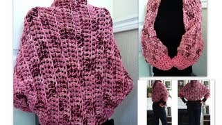 getlinkyoutube.com-crochet a pink  chunky shrug, how to crochet, shrug, shawl, accessories, women, teens