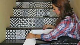 getlinkyoutube.com-How to Stencil Stair Risers the Easy Way with Moroccan Tile Stencils