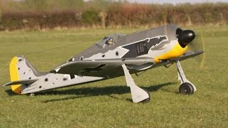 ② RC PLANE CRASH - TIP STALL ON GO AROUND - FOCKE WULF FW190 SAITO 3 CYL 80cc RADIAL CMAC - 2015