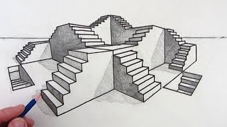 getlinkyoutube.com-How to Draw Stairs Step by Step in Two Point Perspective
