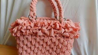 getlinkyoutube.com-Tutorial borsa in fettuccia punto canestro|Bolsos de ganchillo|Fondo con catenella intorno