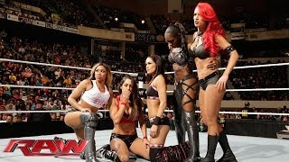 getlinkyoutube.com-The Bella Twins, Funkadactyls & Eva Marie vs. Aksana, Rosa Mendes, Summer Rae, Alicia Fox & Kaitlyn:
