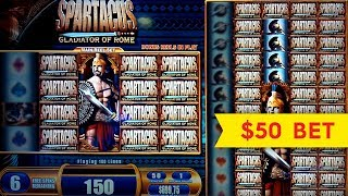 getlinkyoutube.com-Spartacus Slot Machine Jackpot! $50 High Limit Bet Bonus Round!