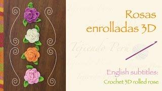 getlinkyoutube.com-Rosas enrolladas 3D tejidas a crochet / English subtitles: 3D crochet rolled roses