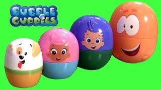 getlinkyoutube.com-Bubble Guppies Stacking Cups Surprise Eggs Nickelodeon Mr. Grouper & Guppy Puppy by FunToys
