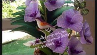 getlinkyoutube.com-How to make nylon flower (vanda orchid) by FB:ployandpoom(ผ้าใยบัว)