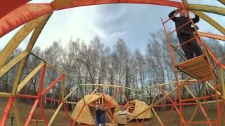Сборка геодезического купола по бесконекторной системе 9m 3v