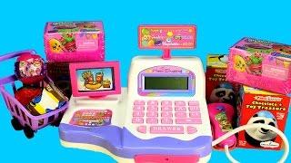 getlinkyoutube.com-Supermarket Toy Cash Register  Lights n' Sounds Surprise Toys Princess Elsa and Barbie